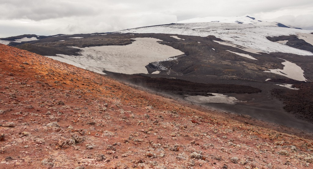 The slope of the volcano with Eyjafjallajökull in the backgroun